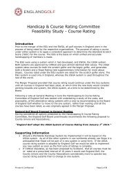 Handicap & Course Rating Committee Feasibility ... - England Golf