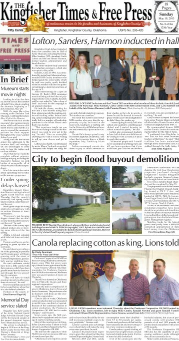Section A Pages 1-4. - Kingfisher Times and Free Press