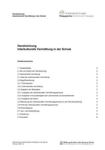 Handreichung Interkulturelle Vermittlung in der Schule