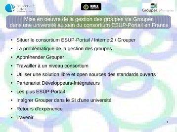 Mise en oeuvre de la gestion des groupes via Grouper dans une ...