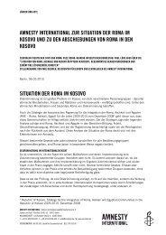 Zur Situation der Roma im Kosovo und zu - Amnesty International