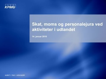 Skat, moms og personalejura, v/ Julie Gerdes m.fl., KPMG