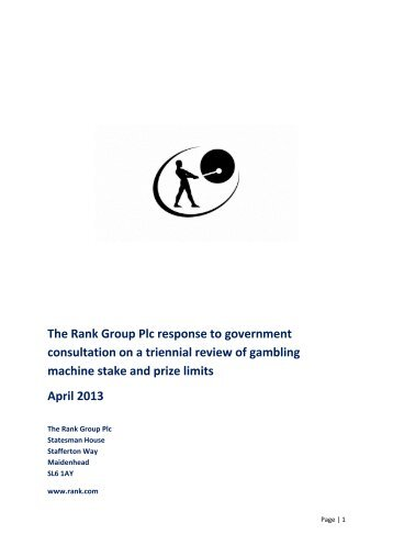 response to triennial review consultation - Rank Group