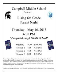 Campbell Middle School Rising 6th Grade Parent Night Thursday ...