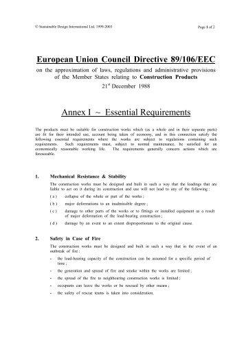 EU Construction Products Directive 89/106/EEC Annex I - Essential ...