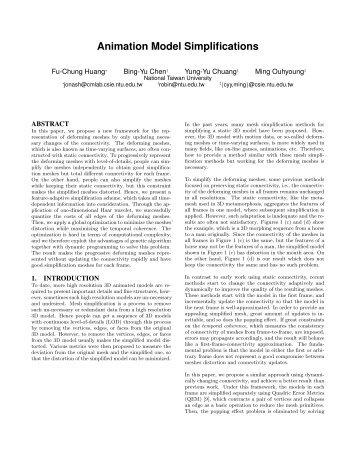 Animation Model Simplifications - Computer Graphics Laboratory