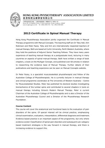 2013 Certificate in Spinal Manual Therapy - Hong Kong ...