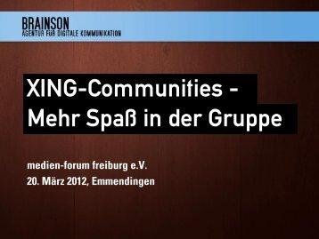 XING-Communities - Mehr Spaß in der Gruppe