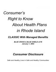 Consumer's Right to Know About Health Plans in Rhode Island