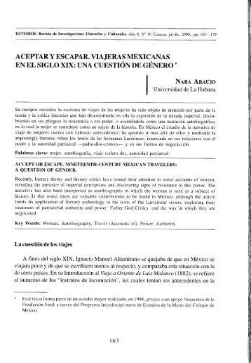 Escapar y aceptar. Viajeras mexicanas en el siglo XIX - Estudios ...
