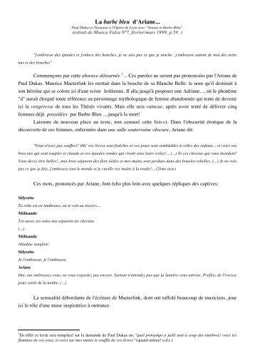 La barbe bleu d'Ariane... Paul Dukas à l'honneur à l'Opéra de Lyon ...