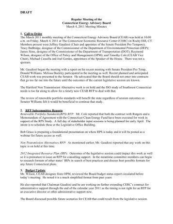 TAB 2 - March Draft Minutes - Connecticut Energy Advisory Board