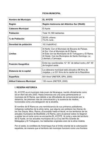 FICHA MUNICIPAL Nombre del Municipio EL AYOTE Región ...