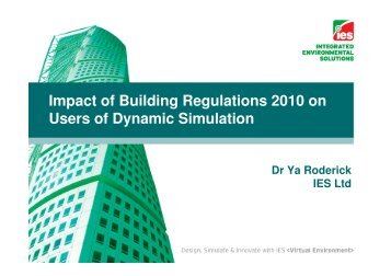 Impact of Building Regulations 2010 on Users of Dynamic Simulation