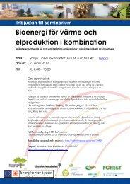 Inbjudan seminarium Bioenergi för värme och elproduktion i ...