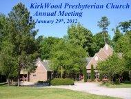 Kirkwood 1999 Attendance Stats - KirkWood Presbyterian Church