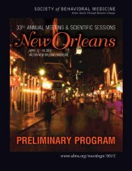 PRELIMINARY PROGRAM - Society of Behavioral Medicine