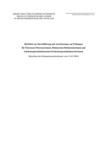 Richtlinie zur Durchführung und Anerkennung von ... - dgsd.de