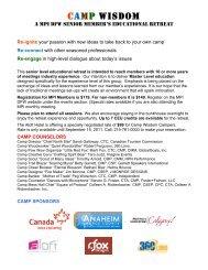 MPI Camp Wisdom Overview and Agenda