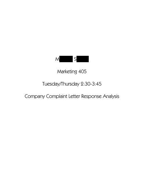 Sample Complaint Letter Response Analysis Gremler Net