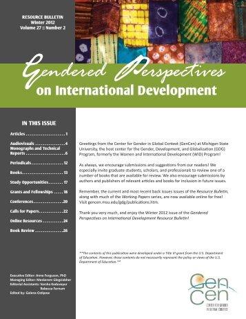 Winter 2012 Bulletin Vol. 27, Number 2 (PDF) - Center for Gender in ...