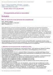 Mise en œuvre du livret personnel de compétences - IEN des Mureaux