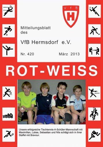 VfB Hermsdorf eV Vereinszeitung ROT-WEISS