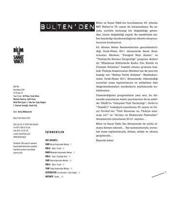 bülten 75 (pdf) - Bilim ve Sanat Vakfı