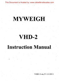 MYWEIGH VHD-2 - Scale Manuals
