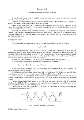 Lucrarea nr. 4 Controlul desfăşurării unui ciclu ... - automation.ucv.ro
