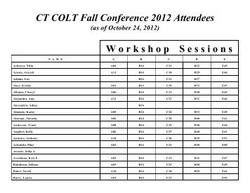 CT COLT Fall Conference 2012 Attendees W orkshop S essions