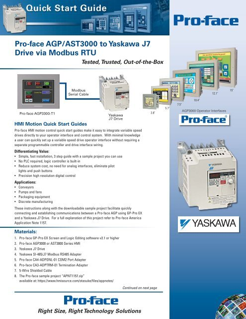 Pro-face AGP/AST3000 to Yaskawa J7 Drive via Modbus RTU