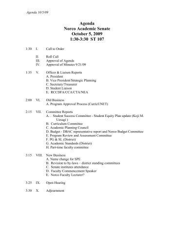 Agenda Norco Academic Senate October 5, 2009 1:30-3:30 ST 107