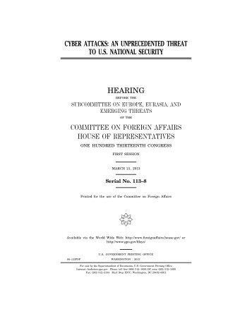 cyber attacks - House of Representatives