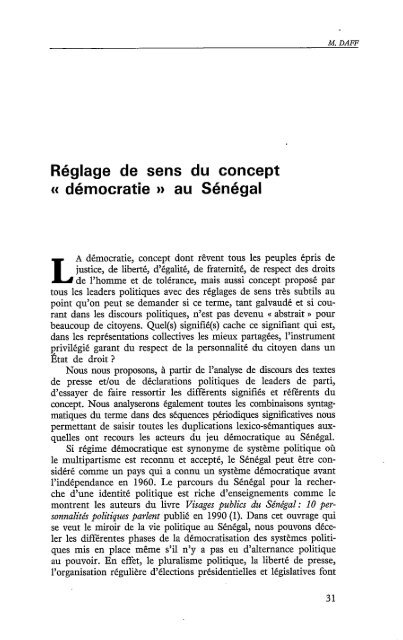 """""""démocratie"""" au Sénégal - Politique Africaine"""