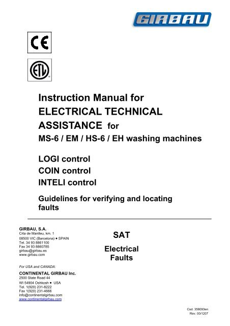 continental girbau user manual
