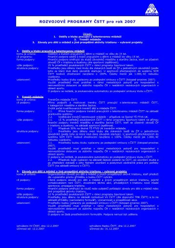 ROZVOJOVÉ PROGRAMY ČSTT pro rok 2007 - Triatlon.cz