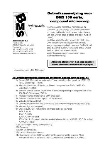 Gebruiksaanwijzing voor BMS 136 serie, compound microscoop