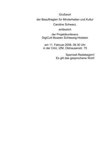 Grußworte Caroline Schwarz - digicult-sh.de
