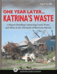 One Year Later Katrina's Waste: A Report Detailing Contracting ...
