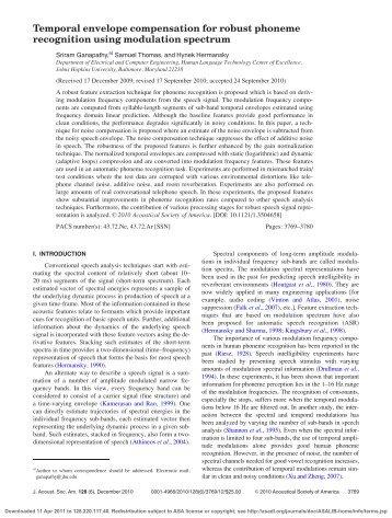 Temporal envelope compensation for robust phoneme recognition ...