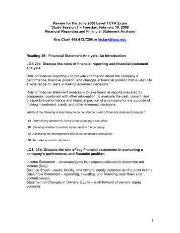 Review for the June 2008 CFA Level 1 CFA Exam - CFA Society of ...