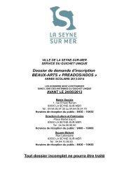 Dossier de demande d'inscription BEAUX-ARTS ... - La Seyne-sur-Mer
