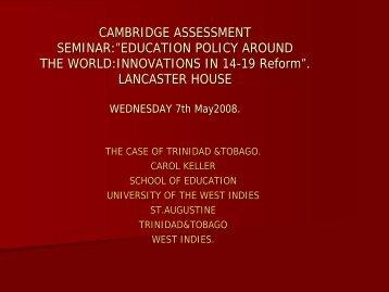 Carol Keller - the case of Trinidad and Tobago - Cambridge ...