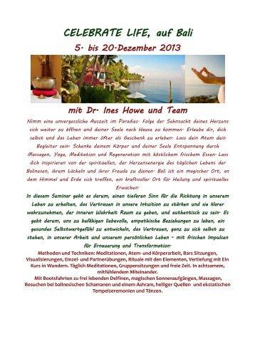 CELEBRATE LIFE, auf Bali - ATMAN Institut, Dr. Ines Howe