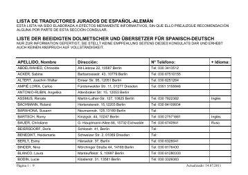 LISTA DE TRADUCTORES JURADOS DE ESPAÑOL-ALEMÁN ...