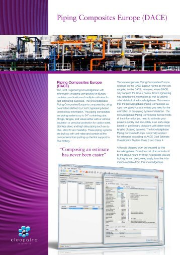 Piping Composites Europe (DACE) - Cost Estimating Software