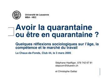 Club 44 Employabilité - Stéphane Haefliger Sociologue