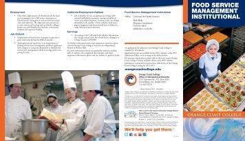food service management institutional - Orange Coast College