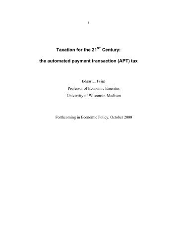 the automated payment transaction (APT) tax - Steuer gegen Armut